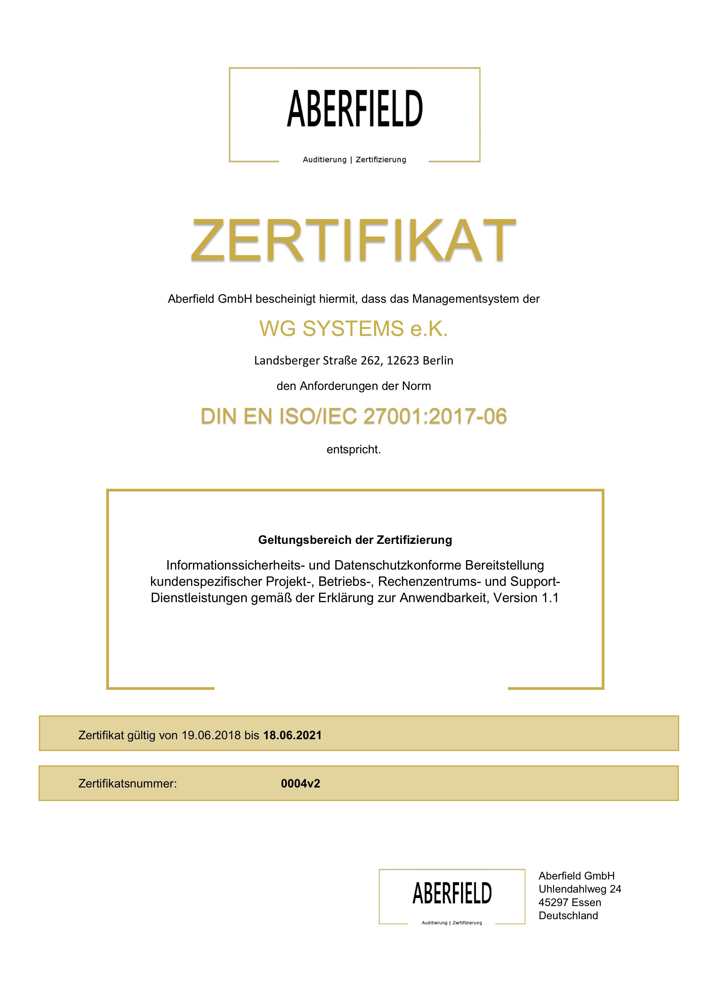 Zertifikat 0004v1 ISO IEC 27001 WG