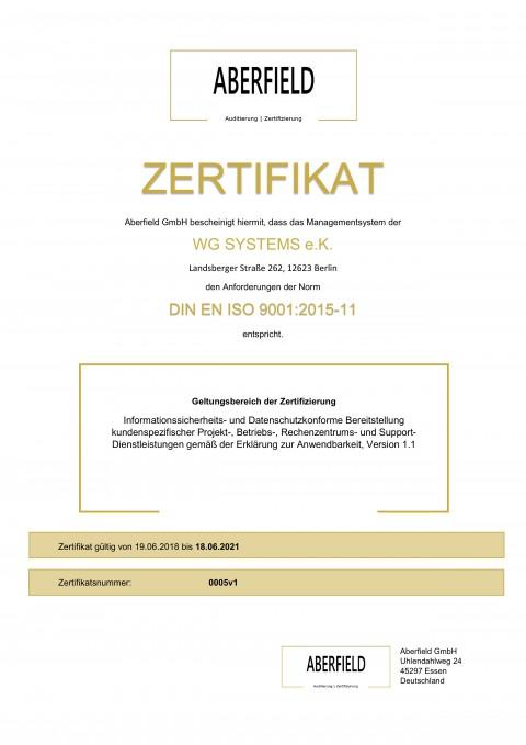 Zertifikat 0005v1 ISO 9001 WG