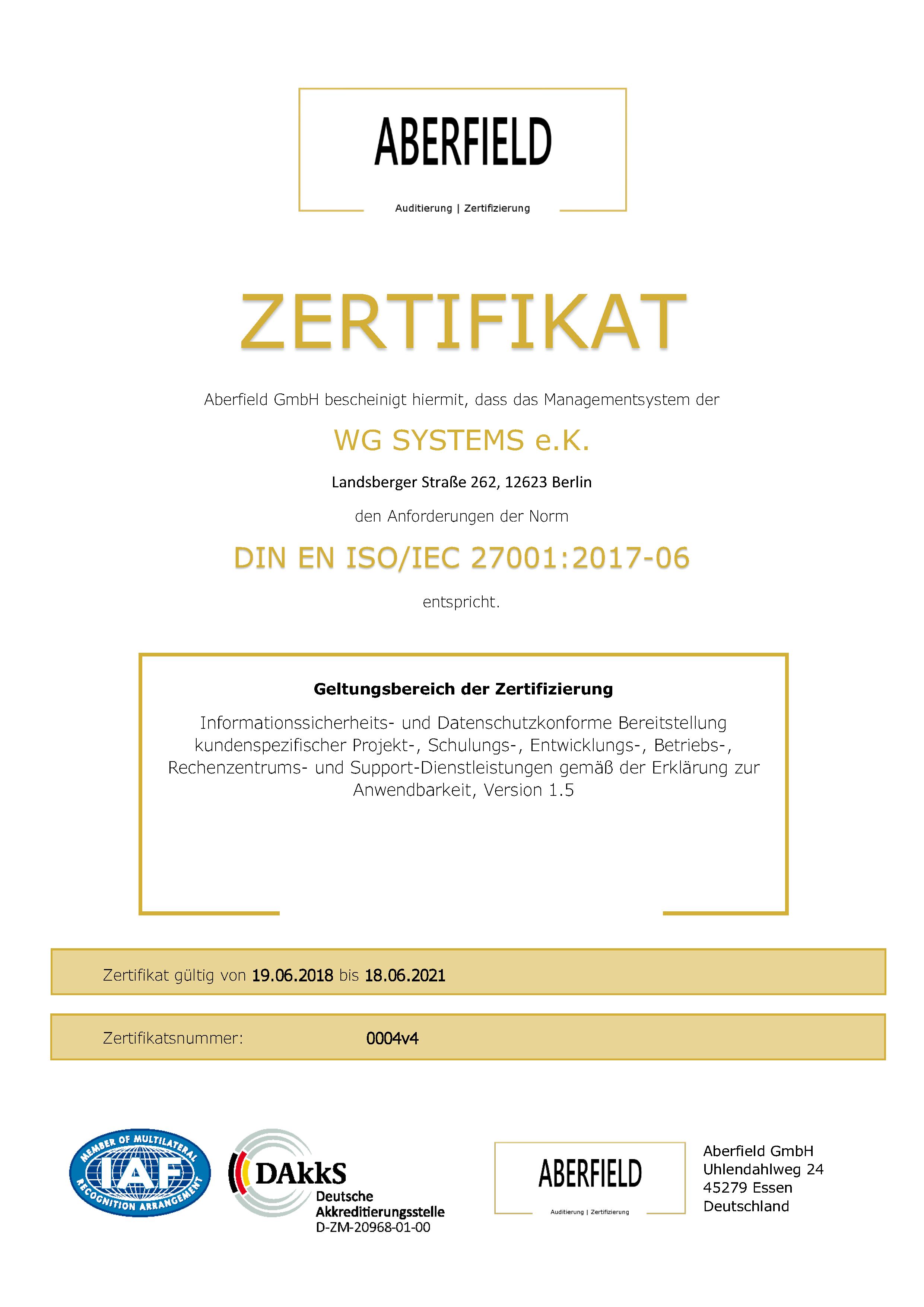 Zertifikat ISO 27001 0004v4